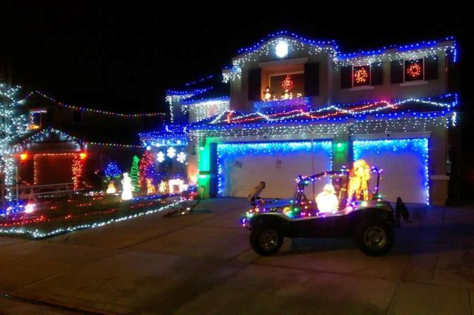 This eye-catching Christmas lights display even features a decorated dune buggy out front with the Abominable Snowman at the wheel. The home is located at 43343 62nd Street West in Lancaster. Thank you, Rob.