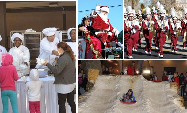 UAV's 'Caring for the Community' dinner service and toy distribution event (left); Palmdale's Christmas parade (top right); and Lancaster's 'A Magical BLVD Christmas' (bottom right) are all taking place this Saturday, Dec. 13.
