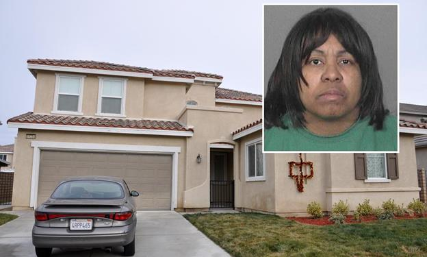 Ingrid Brewer, 50, is accused of tying up and beating her two adopted children – an 8-year-old boy and a 7-year-old girl – in this west Palmdale home in the 39000 Block of Clear View Court.