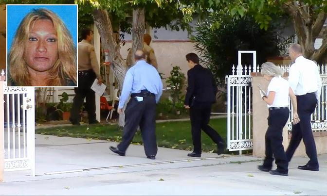 Homicide detectives on Sept. 20 enter the Palmdale home in the 38000 block of Third Street East, where Magda Bermudez (inset) was found stabbed to death around 1:30 p.m. Jose Martinez pleaded not guilty Dec. 29 to murdering Bermudez. (Photo by LUIS MEZA)