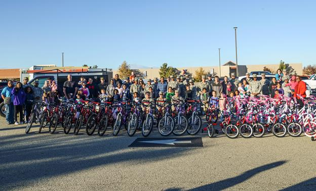 Sixty children on Edwards AFB received brand new bicycles Dec. 4. Bicycles for all ages were donated by Northrop Grumman in conjunction with the Edwards First Sergeants Council. (U.S. Air Force photo by Rebecca Amber)
