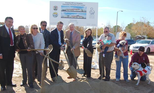 County and city officials shovel dirt in the groundbreaking Monday of the 25,500 square-foot, state of-the-art, indoor animal care facility located on 5.94 acres at 38550 Sierra Highway in Palmdale. The newest Animal Care Center is projected to open in early 2016, and the approved project cost is $20.1 million.