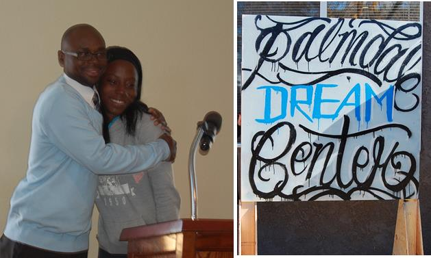 LEFT: AV YouthBuild Executive Director Rossie Johnson embraces YouthBuild participant Rehonda Trotter, after Trotter's emotional remarks at the opening celebration for the Palmdale Dream Center Thursday, Dec. 18. RIGHT: The sign outside the new facility was created by a talented YouthBuild participant, Johnson said.
