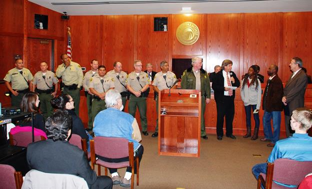 Personnel from the Palmdale Sheriff's Station and representatives from Antelope Valley Youth Build were honored by the Palmdale City Council for their efforts to make a difference in the lives of local young adults. (Contributed photo)