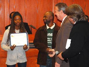 AV Youth Build's Rehonda Trotter receives a Certificate of Appreciation on with Rossie Johnson, Mike Miller and Mayor Jim Ledford looking on. (Contributed)