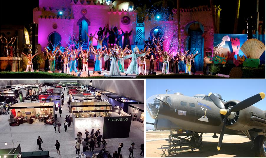 Top: The Riverside County Fair & National Date Festival features the spectacular Arabian Nights Pageant outdoor musical. Bottom left: The LA Art Show presents more than 120 galleries from around the world. Bottom right: March Field Air Museum's B-17G sits on display outside the museum doors.