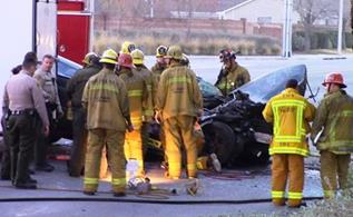 Fiddament's passenger, whose name has not yet been released, was pronounced dead at the scene by Los Angeles County Fire Department paramedics. (LUIS MEZA)