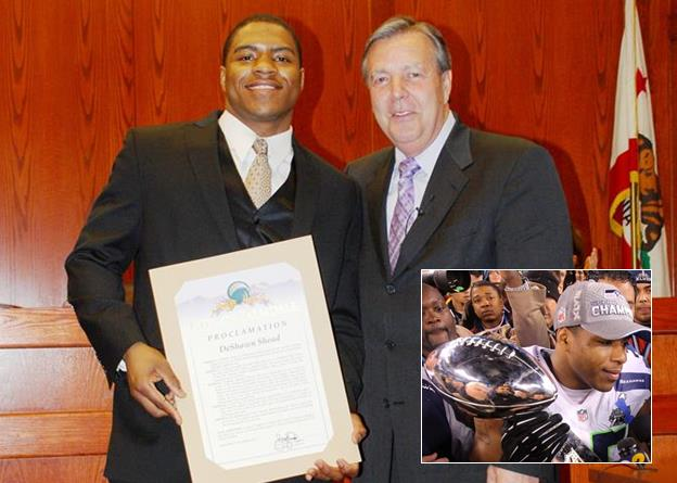 "Highland High School graduate DeShawn Shead became a Super Bowl Champion as a member of the Seattle Seahawks in February 2014. A month later, Shead was presented with a proclamation declaring March 6 as ""DeShawn Shead Day"" in Palmdale. [Read the story here.]"