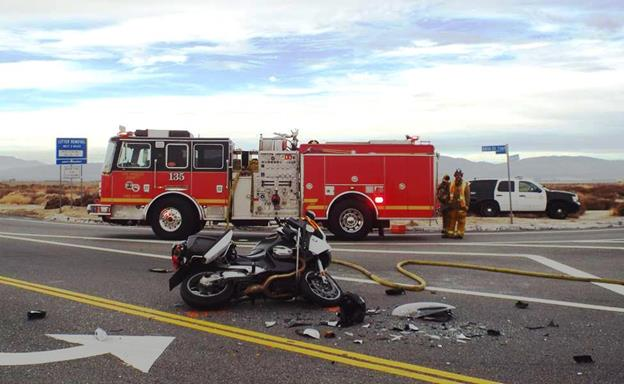 The injury collision happened Friday, Jan 9, on 50th Street East at Columbia Way (Avenue M) in Palmdale. (Photo by LUIS MEZA)