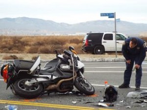 The motorcycle deputy lost control while trying to negotiate a right turn onto southbound 50th Street East. (LUIS MEZA)