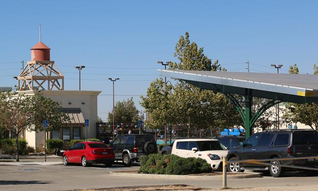 The solar shade structure at Palmdale's DryTown  Water Park produces clean energy and provides shaded parking for vehicles.  (Contributed)