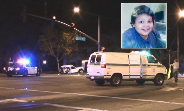"""Everardo Lalo Simental Jr. (inset), Jocelyn """"Jossy"""" Montes and Christopher McGlory were killed in a traffic crash Nov. 21. 2014 in the intersection of Avenue K and 25th Street West in Lancaster. Simental's body is still at the Los Angeles County morgue, authorities confirmed Jan. 8. Friends are accusing his mother, Heidi Velasquez, of pocketing money meant for his burial and then lying about the body being buried in Mexico."""