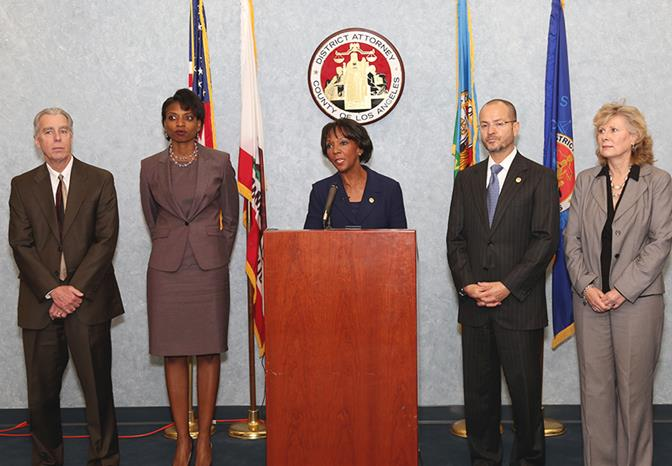 Los Angeles County District Attorney Jackie Lacey addresses reporters at a Jan. 20 news conference about efforts to curb commercial sex trafficking. From left to right are: David Demerjian, Director of Specialized Prosecutions; Jane Creighton, Human Trafficking Unit Coordinator; District Attorney Jackie Lacey; Assistant District Attorney Joseph Esposito; and Carol Burke, Head Deputy of the Sex Crimes Division.