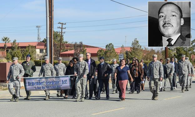 Members of the Edwards AFB community marched from 412th Test Wing Headquarters to Chapel 1 Jan. 12 to commemorate Martin Luther King Jr. Day. (U.S. Air Force photo by Rebecca Amber)