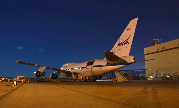 NASA's Stratospheric Observatory for Infrared Astronomy (SOFIA) is seen performing ground tests in Palmdale prior to its first science flight of 2015. The year's first mission was flown on the night of Jan. 13/14, with the German Receiver for Astronomy at Terahertz Frequencies (GREAT) spectrometer on board. (Credit: NASA/USRA/Greg Perryman)