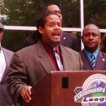 TCAL co-founder Pharaoh Mitchell speaks at a press c