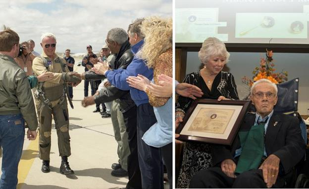 [RIght] Tom McMurtry greets well wishers after his final flight as a Dryden employee June 3, 1999, in an F/A-18 aircraft. (NASA / Tony Landis) [right] McMurtry is presented with the Federal Aviation Administration's Master Pilot Award during a ceremony in Palmdale in October 2014. (NASA / Jim Ross)
