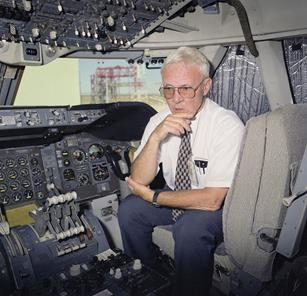 Thomas McMurtry talks about his experiences in the NASA 747 Shuttle Carrier Aircraft cockpit during a 1998 interview. (NASA / Tom Tschida)