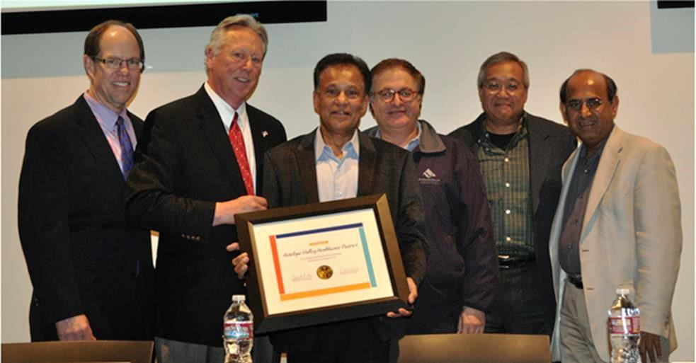 L to R: AVH Chief Executive Officer Dennis Knox and ACHD Executive Director Tom Petersen with AVH Board of Directors Dr. Mukund Shah, chair; Dr. Abdallah Farrukh, first vice chair; Dr. Don Parazo, treasurer; and Dr. Doddanna Krishna, secretary. (Not pictured: Berna Mayer, MN, CFNP, second vice chair) [Contributed]