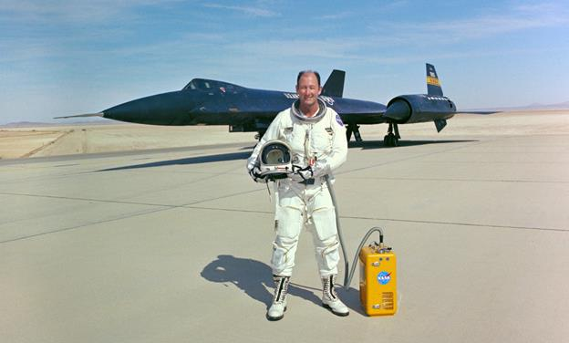 Fulton piloted the triple-sonic YF-12A for high-speed, high-altitude research missions in a joint program with the Air Force from 1969 to 1979. (NASA photo)