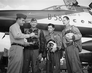 From left: Lt. Johnny Armstrong stands with his B-58 crewmates Maj. Fitz Fulton, Maj. Cliff Garrington and Everett Dunlap in front of the aircraft in 1957.