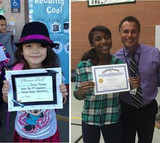 Jordy received an honor roll award last week, while Taylor (pictured with Hillview Principal Robert Garza) received an honor award in late January. (Contributed)