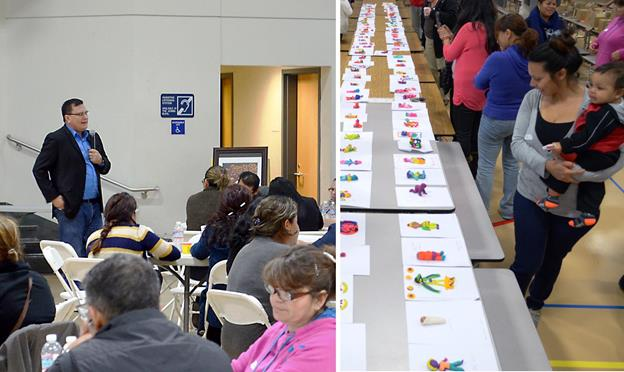 [Left] Artist Simón Silva speaks to Palmdale parents at a special workshop on creativity. [right] Palmdale School District parents browse the Play-Doh babies each of them made as part of the creativity workshop. (Contributed)