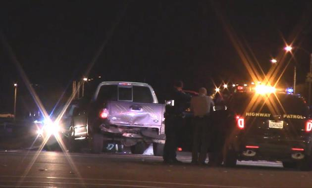 The chase ended around 6:15 p.m. Monday, Feb. 23, near 30th Street West and Rancho Vista Blvd., when the suspect's pickup truck collided with a small car. After a 40-minute standoff, the suspect came out of the truck, surrendering shortly before 7 p.m.(Photo by LUIS MEZA)