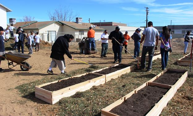 City staff and community volunteers came together to create the city of Palmdale's first community garden. (Contributed)