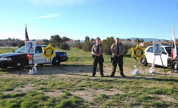 Deputies Shiplett and Esswein were standing watch around 8 a.m. Thursday, Feb. 26, as part of a daylong tribute to mark the 37th anniversary of the accident that claimed the lives of Deputy Sheriff Gregory Low and Reserve Deputy Sheriff Charles Plumleigh.