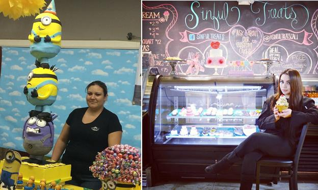 [Left] Wendy Gonzalez at Simply Sweet, located at 2520 East Palmdale Blvd. in Palmdale. [Right] Crystal Ruelas at Sinful Treats, located at 40008 10th Street West in Palmdale. (Contributed)