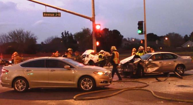 The Maserati was traveling northbound on Challenger Way and both the Chevy Impala and the Ford Fusion were southbound on Challenger Way making a left turn onto eastbound Avenue J-8 when the crash occurred, authorities said. (Photo by LUIS MEZA)