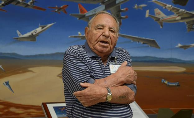 Holocaust survivor Albert Rosa tells his story as a Jewish prisoner in a Nazi concentration camp during a special visit to the Air Force Test Museum March 6. (U.S. Air Force photo by Rebecca Amber)