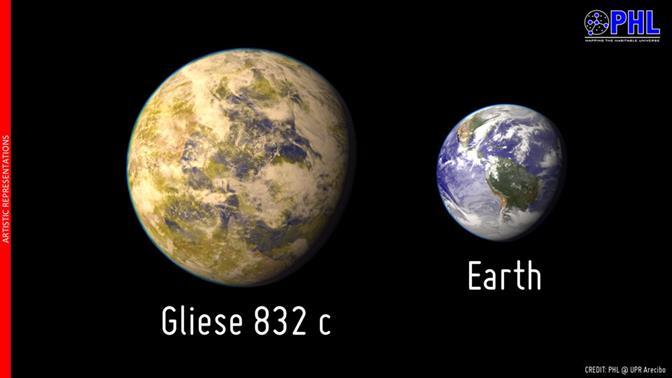 Gliese 832c: The Closest Potentially Habitable Exoplanet. [Image credit: The Planetary Habitability Laboratory @ UPR Arecibo (phl.upra.edu)]