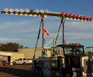 Mounted on a specially modified truck, the LEAPTech ground-test article will be driven at speeds up to 70 mph across a dry lakebed at Edwards Air Force Base. (Courtesy: Joby Aviation)