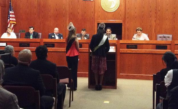 Community queens were among the youth who addressed the Palmdale Planning Commission at the March 12 meeting. (Contributed photo)