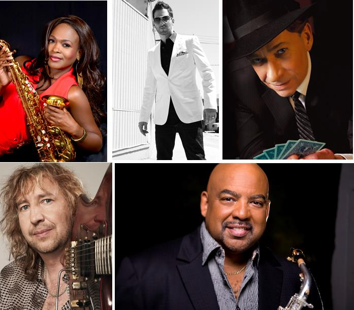 The inaugural Johnson's Smooth Jazz Festival at Lancaster City Park will feature [top L to R] Jeanette Harris, Jon B., Bobby Caldwell [bottom L to R] Nils, and Gerald Albright. (Contributed publicity photos)