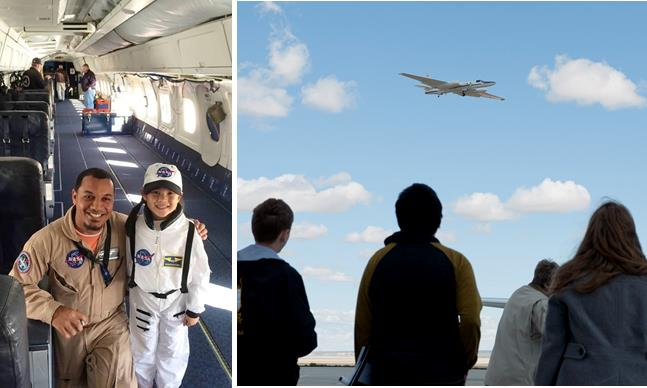 [Left] NASA engineer Matt Berry welcomes an enthusiastic student aboard the DC-8 [right] Students witness an ER-2 flyover.