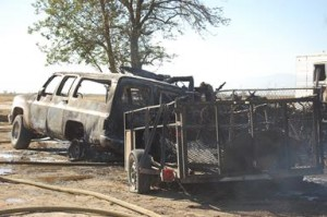 The fire destroyed the man's mobile home, a Chevy Suburban, a Chevy Blazer and another vehicle, officials said.