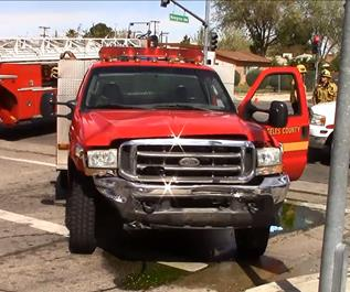 The firefighter was transported to Antelope Valley Hospital with minor injuries, officials said. (LUIS MEZA)