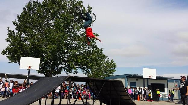 A BMX bike stunt show took place April 23 at Tierra Bonita Elementary. (contributed photo)