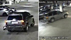 The suspect's vehicle is described as a possible Jeep Cherokee, 2000-2013, silver in color with a rear hitch rack. (LASD)