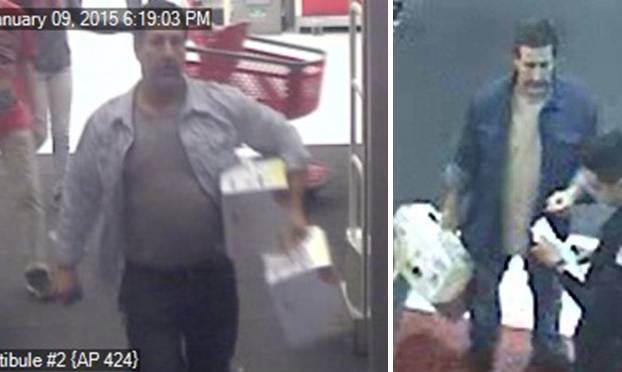 The suspect is a white male with brown hair and a mustache who is about 6 feet 1 inch tall and weighs around 250 pounds. He is believed to be between 45 to 55 years old. (Images courtesy LASD)