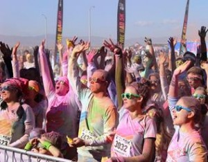 Colored powders will be tossed, sprayed, dropped, and blown at runners and walkers, tie-dying their white t-shirts. (contributed)