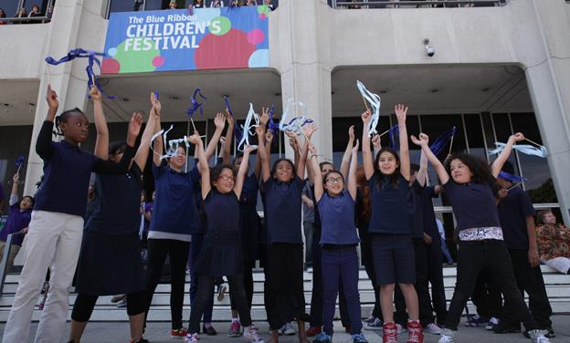 "Students from Antelope Valley Adventist School joined more than 2,500 student from all over Los Angeles County Thursday on The Music Center Plaza to successfully set a record for the world's ""Largest Ribbon Dance."" (Photo courtesy of The Music Center.)"
