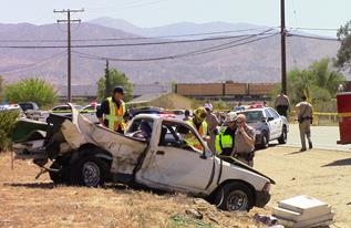Roman lost control of his pickup in the curve of the roadway and crossed into the oncoming traffic lane. (LUIS MEZA)