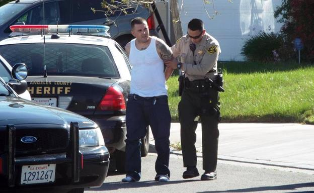Patrick Keesling, 36, of Quartz Hill was arrested around 3:55 p.m. Wednesday, April 1, on suspicion of grand theft vehicle, reckless driving and driving under the influence of alcohol and an illegal narcotic, officials said. (Photo by LUIS MEZA)