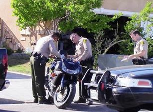 Keesling was spotted riding this stolen motorcycle through the Quartz Hill area at nearly 90 mph against traffic, authorities said. (LUIS MEZA)