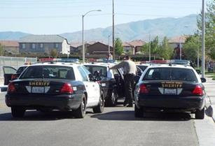 The suspect was found hiding inside a home after deputies contained the neighborhood on the 43700 block of 46th Street West. (LUIS MEZA)
