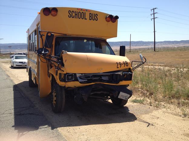 The school bus was carrying two students at the time and was being driven by 33-year-old Alejandro Meza of Lancaster, CHP officials. (Contributed photo courtesy DANIEL POTTER)
